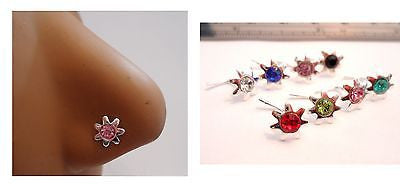 8 Sterling Silver Nose Studs Rings L Shape Pins Crystal Sun 20g 20 gauge - I Love My Piercings!