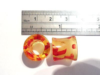 2 pieces Pair Double Flare Acrylic Ear Lobe Tunnels 1/2 inch Amber - I Love My Piercings!