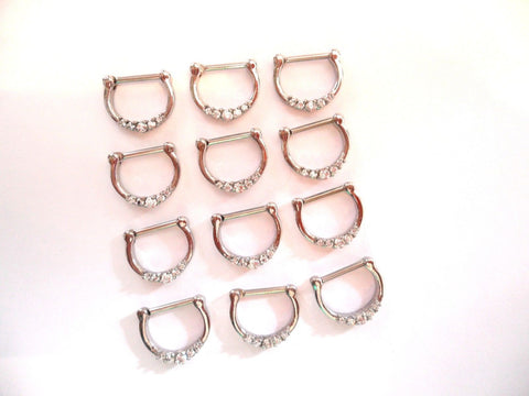 12 Pc Clear Crystal Nose Septum Clickers Rings Hoops Straight Post 16 gauge 16g - I Love My Piercings!