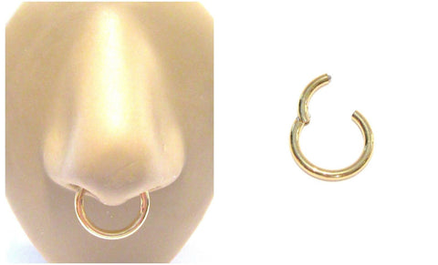 18k Gold Plated Septum Nose Hinged Seamless Hoop Ring 12 gauge 12g 12 mm - I Love My Piercings!