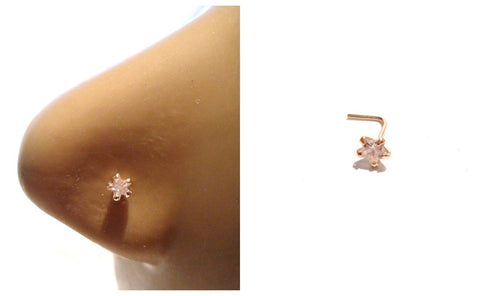 10K Gold 5 Claw Set Pronged Clear CZ Star L Shape Nose Pin Stud 22 gauge 22g - I Love My Piercings!