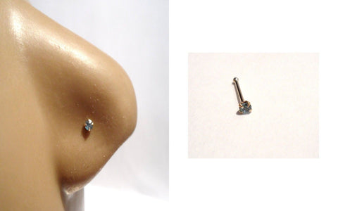 10K Yellow Gold 4 Claw Pronged Round Cut Aquamarine Nose Bone Ball End 22 gauge - I Love My Piercings!