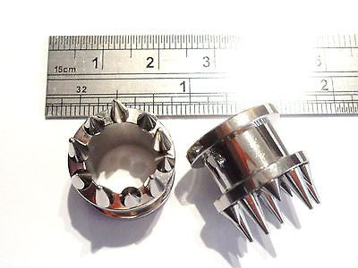 2 pieces Pair Stainless Steel Spiked Screw Back Tunnels 1/2 inch - I Love My Piercings!