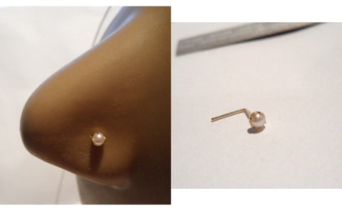 10K Gold Claw Set Pronged White Pearl L Shape Nose Pin Stud Ring 22 gauge 22g - I Love My Piercings!
