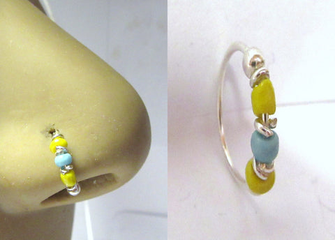 Sterling Silver Thin Nose Hoop Yellow Blue Beaded Ring 22 gauge 8 mm Diameter