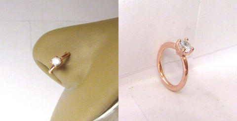 18k Rose Gold Plated Solitaire Clear CZ Crystal Nose Nostril Hoop Ring 16 gauge - I Love My Piercings!