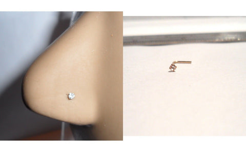 10K Gold 2mm Clear Crystal CZ 4 Claw Set Pronged Nose Pin Stud 22 gauge 22g - I Love My Piercings!