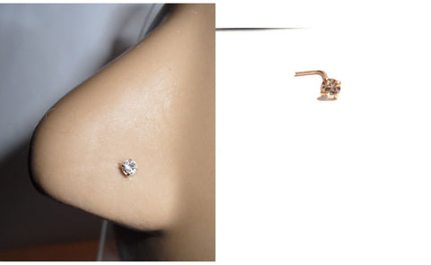 10K Gold 2.5mm Clear Crystal CZ 4 Claw Set Pronged Nose Pin Stud 22 gauge 22g - I Love My Piercings!