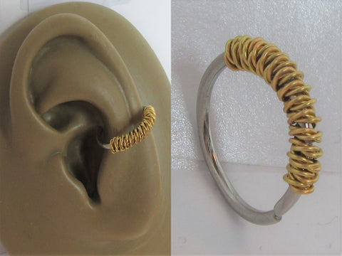 Surgical Steel Gold Wrapped Seamless Continuous Conch Hoop Ring 16 gauge 16g