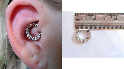 Surgical Steel Clear Crystal Hoop Barbell Daith Jewelry 16 gauge 16g - I Love My Piercings!