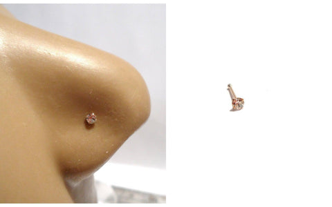 10K Yellow Gold 4 Claw Pronged Round Cut Clear CZ Nose Bone Ball End 22 gauge - I Love My Piercings!