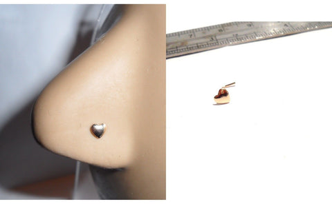 10K Yellow Gold Heart Nose L Shape Pin Stud Post Jewelry 22 gauge 22g - I Love My Piercings!