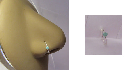 Sterling Silver Claw Set Real Turquoise Stone Hoop Ring Stud 20 gauge 20g