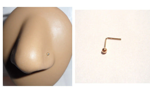 10K Yellow Gold 2mm Ball L Shape Nose Pin Stud Jewelry 22 gauge 22g - I Love My Piercings!