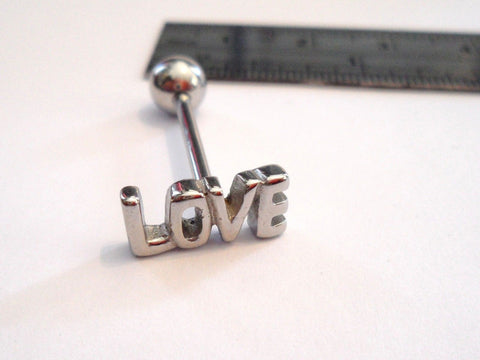 Stainless Steel LOVE Tongue Ring Straight Barbell 14 gauge 14g Standard Length - I Love My Piercings!