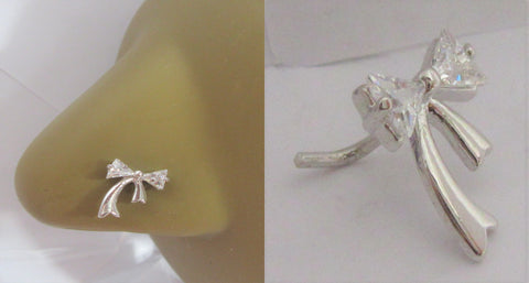 Sterling Silver Ribbon Bow Clear Crystal Nose Stud L Shape Pin Post 20 gauge 20g