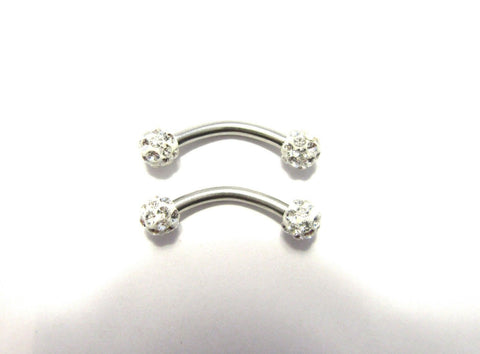 Clear Crystal 4 mm Balls Surgical Steel Nipple Curved Barbells Jewelry 14 gauge - I Love My Piercings!