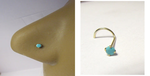 10K Yellow Gold Turquoise Stone Nose Screw Curl Twisted Pin Ring 20 gauge 20g - I Love My Piercings!