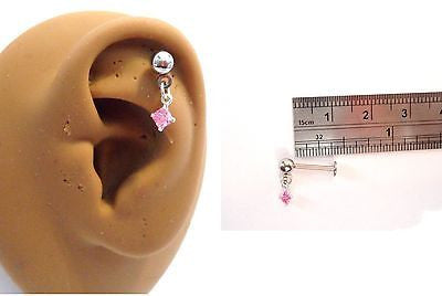 Cartilage Helix Tragus Crystal Gem Ear Stud Barbell 16 gauge 16g Pink - I Love My Piercings!