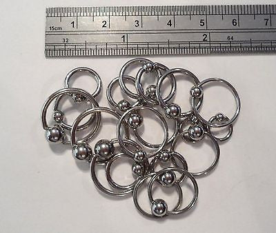 10 Piece ASSORTED DIAMETER Captives STEEL Rings - I Love My Piercings!