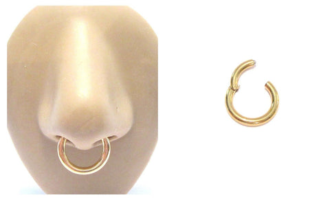 18k Gold Plated Septum Nose Hinged Seamless Hoop Ring 10 gauge 10g 12 mm - I Love My Piercings!