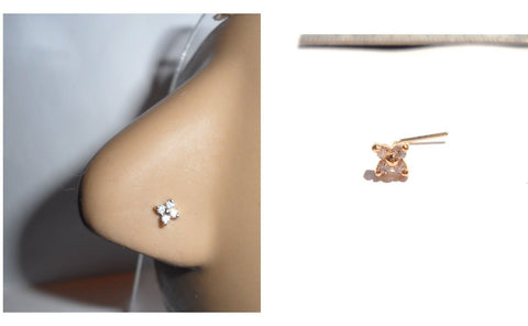 10K Gold Claw Set Pronged Flower Clear CZ Crystal L Shape Nose Pin Stud 22 gauge - I Love My Piercings!
