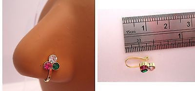 Gold Plated India Style Clear Emerald Green Pink Crystal Flower Nose Cuff Clip - I Love My Piercings!
