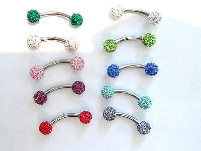 Crystal Balls VCH Jewelry Vertical Hood Piercing Curved Barbell Ring 14 gauge 14g - I Love My Piercings!