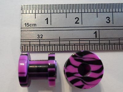 Pair 2 pieces Double Flare Acrylic Screw Fit Purple Black Tunnels 2 gauge 2g - I Love My Piercings!