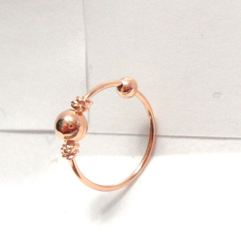 18k Rose Gold Plated Bali Ball Twist Coil Ear Cartilage Hoop Ring 20