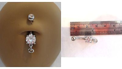 Surgical Steel Add Your Own Charm Belly Navel Ring Clear Crystal 14 gauge 14g - I Love My Piercings!