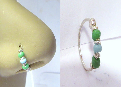 Sterling Silver Thin Nose Hoop Green Beaded Ring 22 gauge 22g 8 mm Diameter