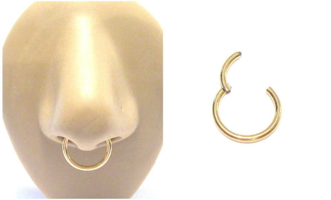 18k Gold Plated Septum Nose Hinged Seamless Hoop Ring 14 gauge 14g 12 mm - I Love My Piercings!