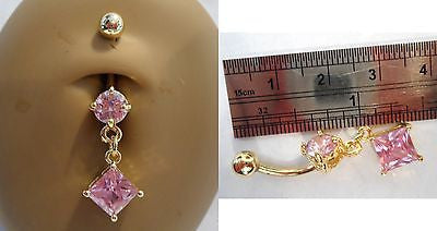 Gold Titanium Pink Crystal Dangle Belly Ring Curved Barbell 14 gauge 14g - I Love My Piercings!