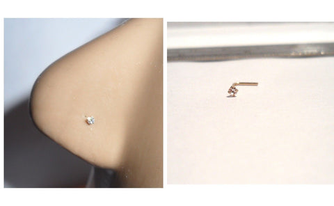10K Gold 1.5mm Clear Tiny Crystal CZ 4 Claw Set Pronged Nose Pin Stud 22 gauge - I Love My Piercings!