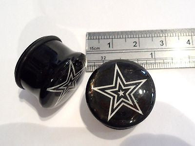 Pair 2 pieces Single Flare White Star Black Plugs O rings 3/4 inch - I Love My Piercings!