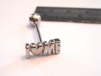 Stainless Steel I Heart Me Love Tongue Ring Straight Barbell 14 gauge 14g - I Love My Piercings!