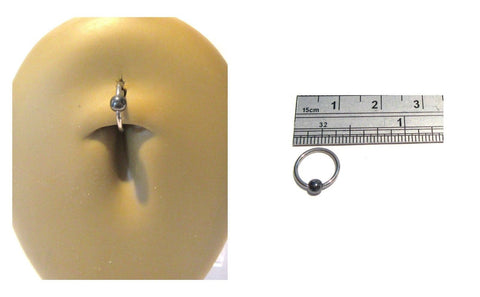 Surgical Steel Hematite Bead Captive Hoop Belly Navel Ring 16 gauge 16g 8 mm - I Love My Piercings!