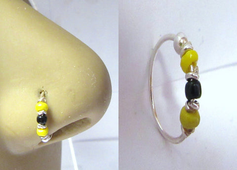 Sterling Silver Thin Nose Hoop Yellow Black Beaded Ring 22 gauge 8 mm Diameter
