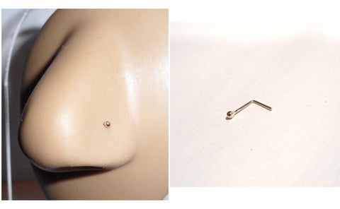 10K Yellow Gold 1.5mm Tiny Ball L Shape Nose Pin Stud Jewelry 22 gauge 22g - I Love My Piercings!