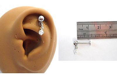 Cartilage Helix Tragus Crystal Gem Ear Stud Barbell 16 gauge 16g Clear - I Love My Piercings!