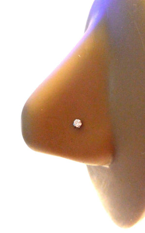 10K White Gold 4 Claw Set Pronged Round Cut Clear CZ Nose L Shape Stud Pin 22g - I Love My Piercings!