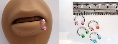 Glitter Ball Horseshoe Bottom Side Lip Rings Half Hoops Balls 16 gauge 16g - I Love My Piercings!