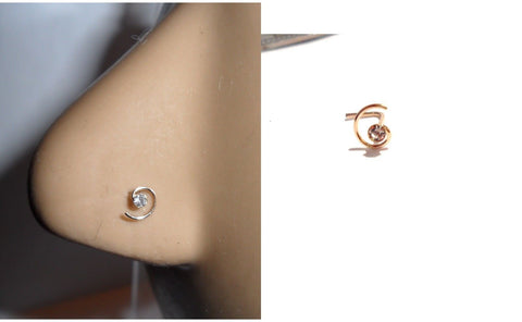 10K Gold Clear Crystal CZ Coiled Spiral Nose Pin Stud Jewelry 22 gauge 22g - I Love My Piercings!
