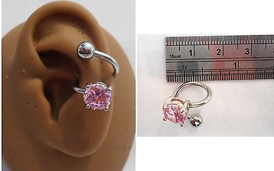 Stainless Surgical Steel Pink Crystal Wrap Cuff Conch Ring Hoop 14 gauge 14g - I Love My Piercings!