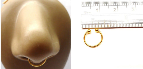 18k Gold Plated Fake Septum Plain Hoop Ring Looks 20 gauge 20g 10 mm Diameter - I Love My Piercings!