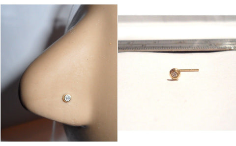 10K Yellow Gold 2.5mm Bezel Set Clear CZ Nose Pin Stud Jewelry 22 gauge 22g - I Love My Piercings!