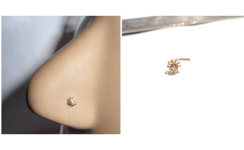 10K Gold Coiled Clear CZ Crystal Flower L Shape Nose Pin Stud 22 gauge 22g - I Love My Piercings!