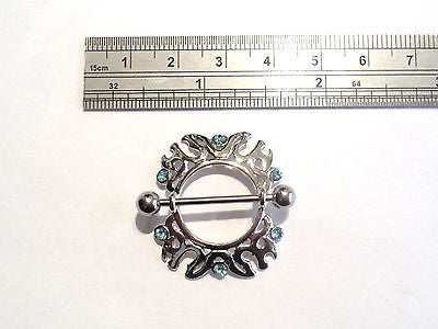 Surgical Steel AQUA CZ Crystal Tribal Hoop Nipple Ring SHIELD 14 gauge 14g - I Love My Piercings!