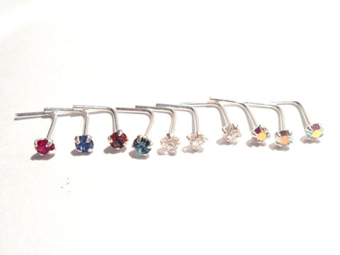 10 Piece Sterling Silver 4 Claws Set Pronged CZ 2mm Crystal Nose Studs Pins 22g - I Love My Piercings!